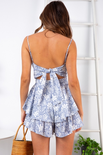 Daisy Duke Playsuit - Blue Print