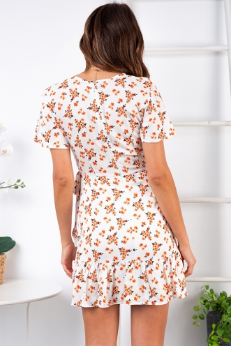 Had It All Dress - White/Orange Floral