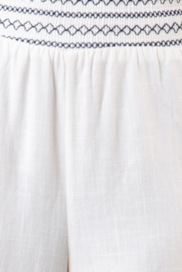 Riptide Pants - White/Navy Embroidery