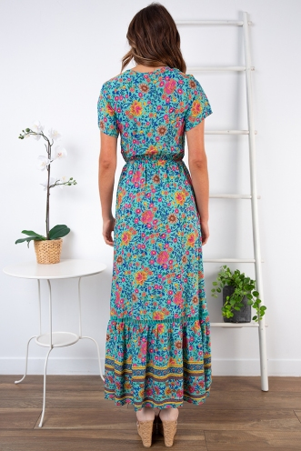 Hanna Maxi Dress - Turquoise Print