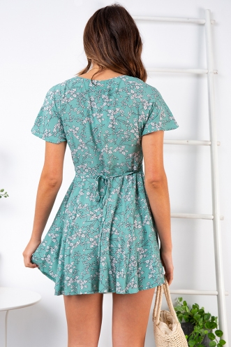 Ellie Dress - Sage Floral