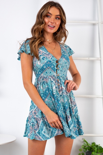 Blissful Days Spring Dress - Sage Print