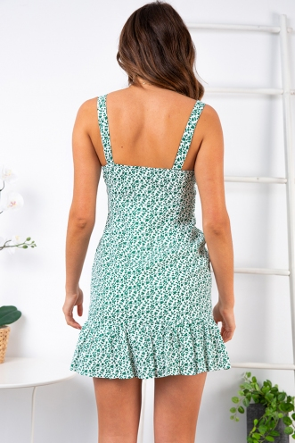 Country Escape Dress - White/Green Print