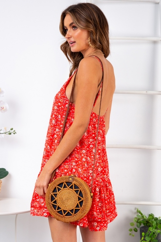 Bobbi Dress - Bright Red Floral