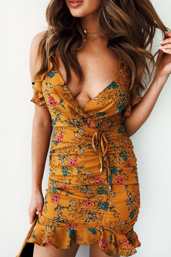 Catching Feelings Dress - Mustard Print