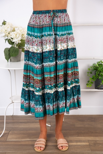 Dream Girl Skirt - Green Print