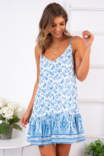 Bobbi Dress - Light Blue/White Print