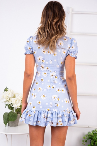By The Sunflowers Dress - Light Blue Floral