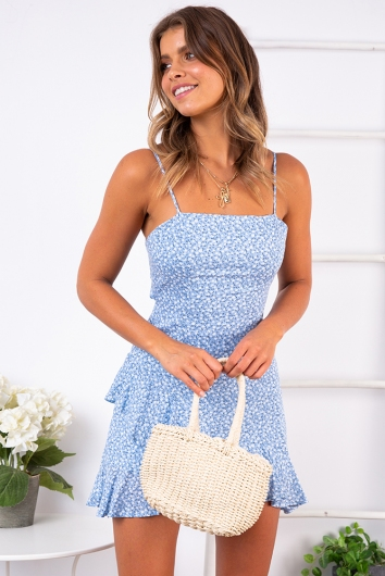 Minnie Mouse Dress - Light Blue Print