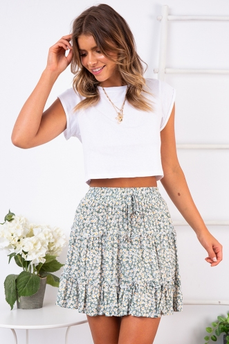 Next To You Skirt - Sage Floral