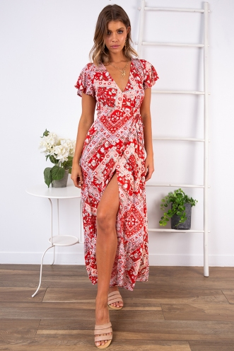 Free As A Bird Dress - Red Print