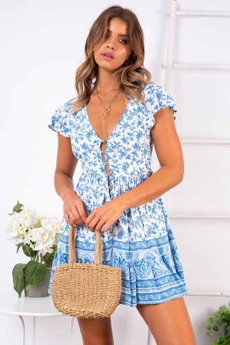 Blissful Days Spring Dress - Light Blue Print