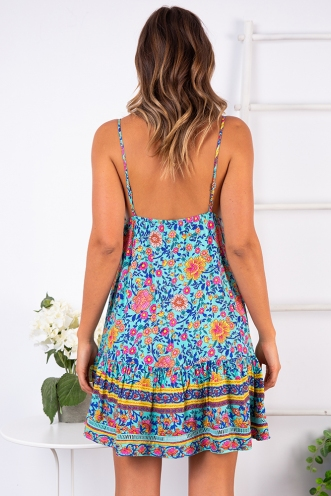 Bobbi Dress - Turquoise Print
