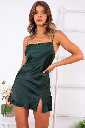Empty Glasses Dress - Forest Green