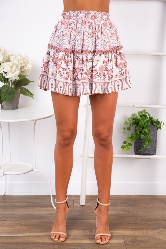 Farmhouse Skirt- Pink Floral