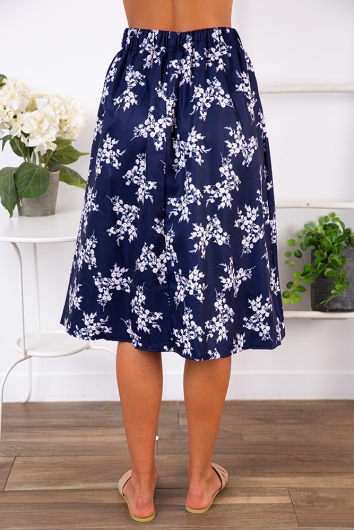 Market Day Skirt - Navy Print