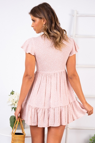 Blissful Days Spring Dress - Pink Print
