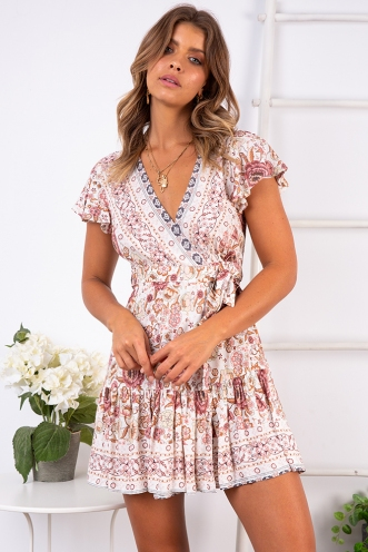 Tess wrap dress - Pink Print