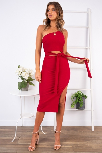 Danika One Shoulder Dress - Wine
