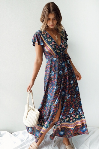 Free As A Bird Dress - Navy Print