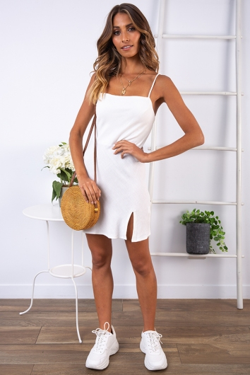 Empty Glasses Dress - White