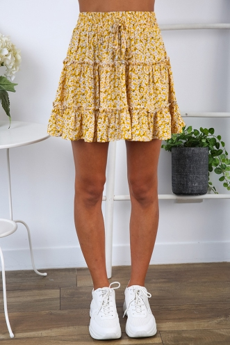Next To You Skirt - Mustard Floral