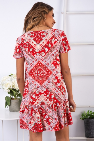 Rose Thorn Dress - Red Floral