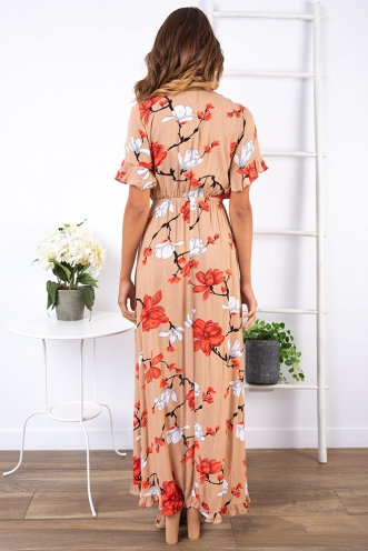 Sabrina Dress - Tan/Orange Floral