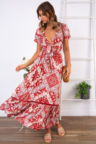 Hanna Maxi Dress - Red Antique Floral