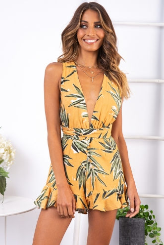Palm Lined Streets Playsuit - Sunset
