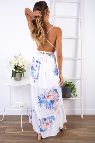 Passion Fruit Mousse Dress - White Floral