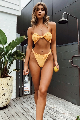 On Weekend Time Bikini Top - Mustard