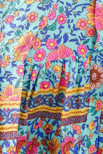 Tess wrap dress - Turquoise Floral