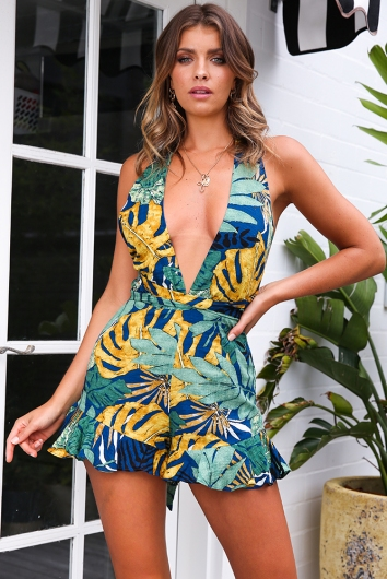 Palm Lined Streets Playsuit - Navy Print