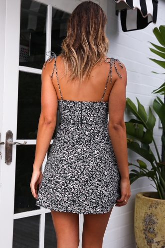 Leila Dress -Black Floral