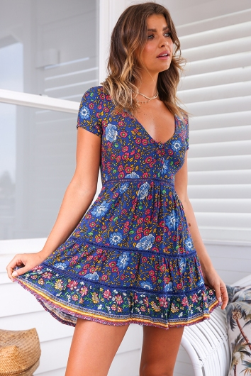 Sunflower Child Dress- Navy Print