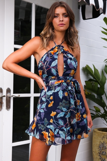 Makhala Dress - Navy Print
