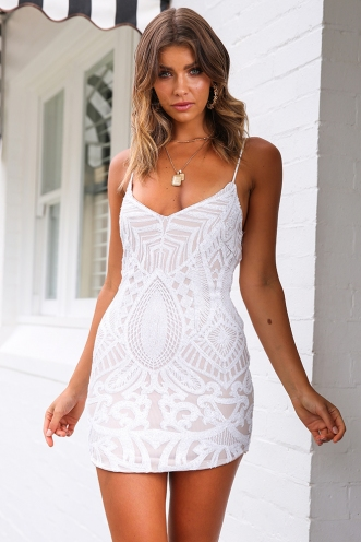 Sorcha Dress - White Sequin