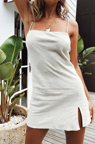 Empty Glasses Dress - Beige