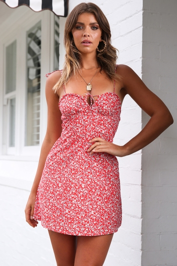 Leila Dress - Red Floral