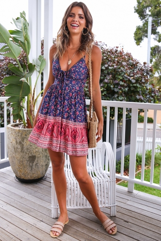 Savannah Dress - Pink Print