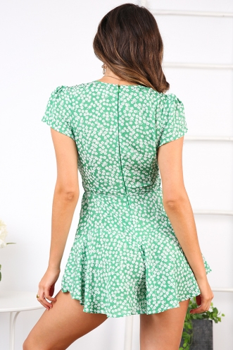 Laidback Playsuit - Green Print