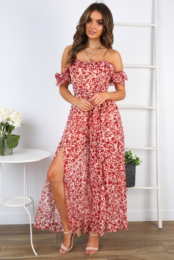 Rachelle Jumpsuit - Red Print