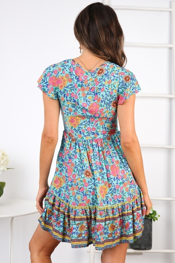 Blissful Days Spring Dress - Turquoise Print