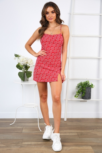 Empty Glasses Dress - Red Print