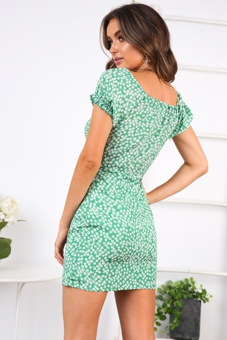 Doll Face Dress- Green/White Floral