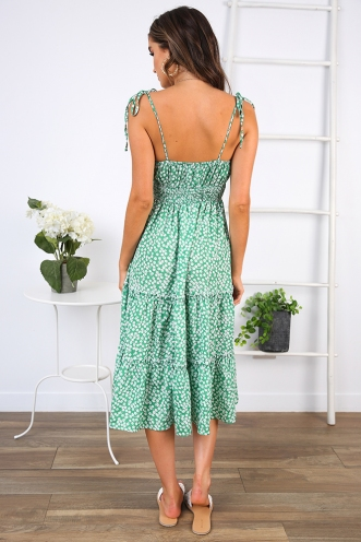 Faithful Dress - Green/White Floral