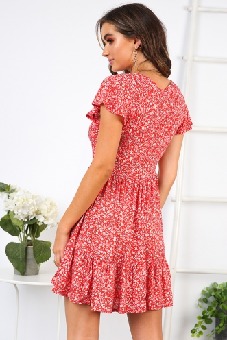Blissful Days Spring Dress - Red Floral