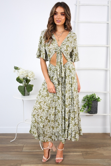 For the Weekend Dress - Olive Print
