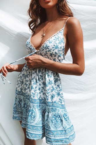 Savannah Dress - Blue Print